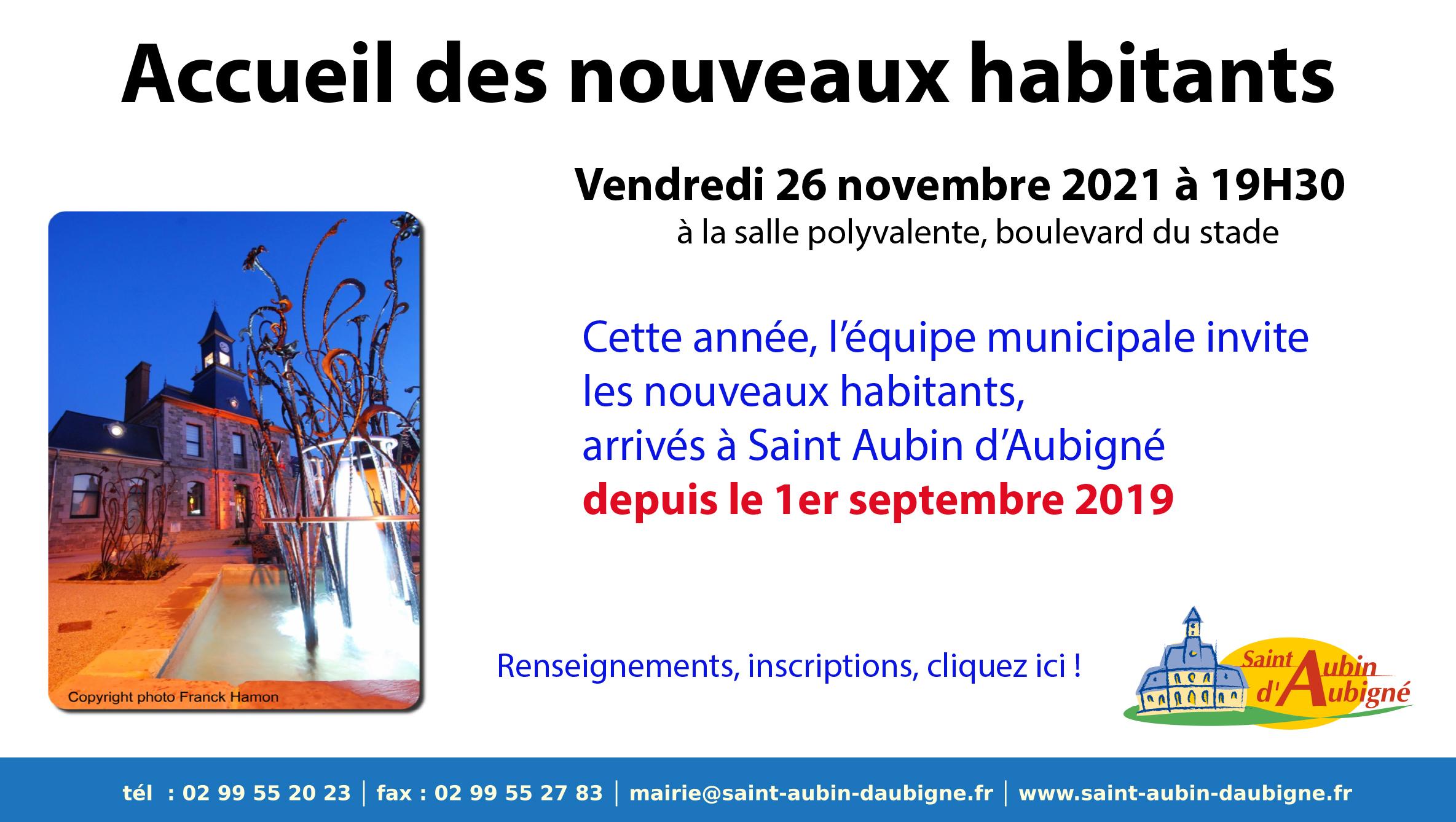 Accueil des nouveaux habitants Vendredi 26 novembre 2021 à 19H30